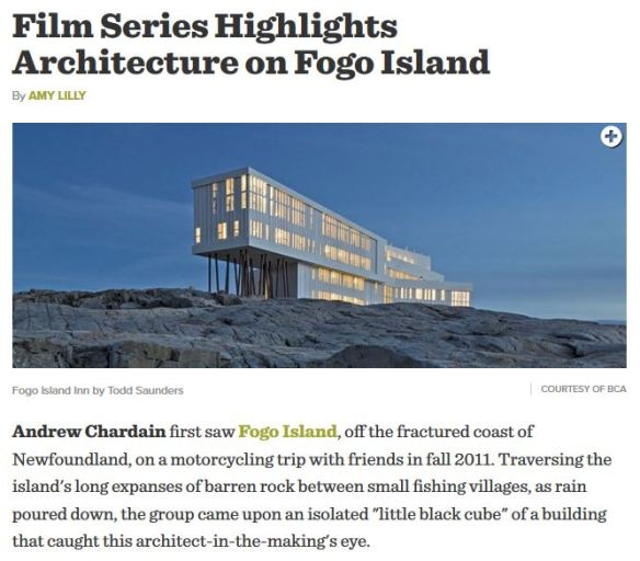 Film Series Highlights Architecture on Fogo Island_April 2015