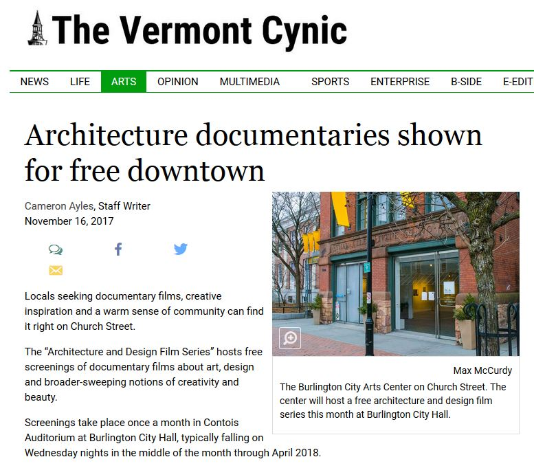 Architecture Documentaries Shown for Free Downtown